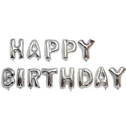 EKNA Globo de papel de aluminio con palabras en el juego Happy Birthday en plata, 40 cm de alto, llamativo decoración para fiestas con expresión, para cumpleaños, letras individuales