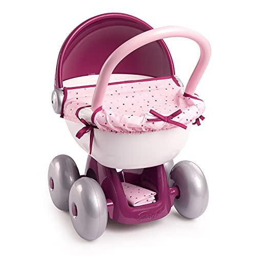 Smoby - Baby Nurse - Landau Câlin - Pour Poupons et Poupées - Roues Silencieuses - Bac de Rangement - Tissu Lavable - 220348