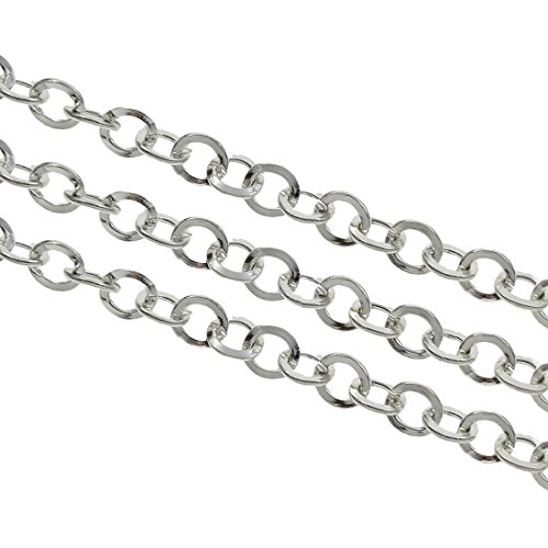 Perlin - 9 Meter Gliederkette Link Kette Metallkette Rund Panzerkette 5 mm Altsilber Schmuckkette Meterware zur Schmuckherstellung von Halsketten Armband DIY Basteln K4 x3