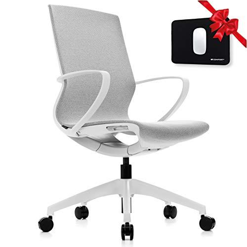 COMIFORT Cokatooo Bürostuhl mit niedriger Rückenlehne, gepolsterter Schreibtischstuhl und Rollen, mit verstellbarem Hebemechanismus, Computerstuhl mit weißem Mesh-Finish