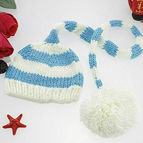Zhangl Apparel Chapeau de Noël à rayures horizontales en laine pour bébé bleu bleu