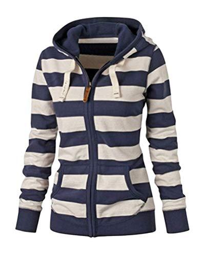 ORANDESIGNE Gestreifte Sweatshirtjacke mit Reißverschluss Jacke Damen Kapuzenjacke Hoodie Sweatshirt Pullover Kapuzenpullover mit Kordel Zip Casual Langarm Top A Navy blau 40