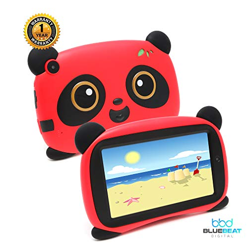 Panda 7 Tablet for Kids 7inch HD Display Android Tablet w/Educational Apps/Games, Juguetes para niños, 1GB RAM, Dual Camera, Equipped with Parental Controls by Blue Beat Digital [Red]