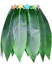 Toyvian Falda de Patrón de Hoja Hawaiana Falda de Baile de Hierba Flores de Hibisco Artificiales para Mujeres Fiesta de Playa con Decoración