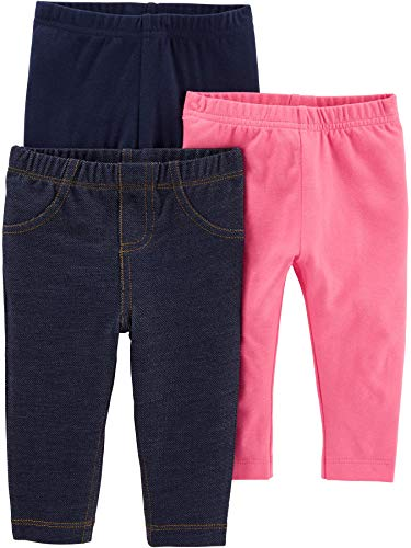 Simple Joys by Carter's Baby and bebé - Leggings para niña (3 Unidades), Navy/Pink/Denim, 4T