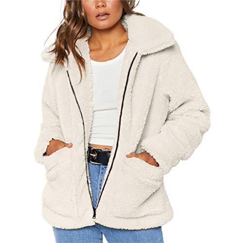 PLOT Damen Mantel Teddy-Fleece Jacke Wintermantel Revers Faux Wolle Outwear Coat Winter Warm Cardigan Kurzjacke Wintermantel Parka Jacken mit Taschen