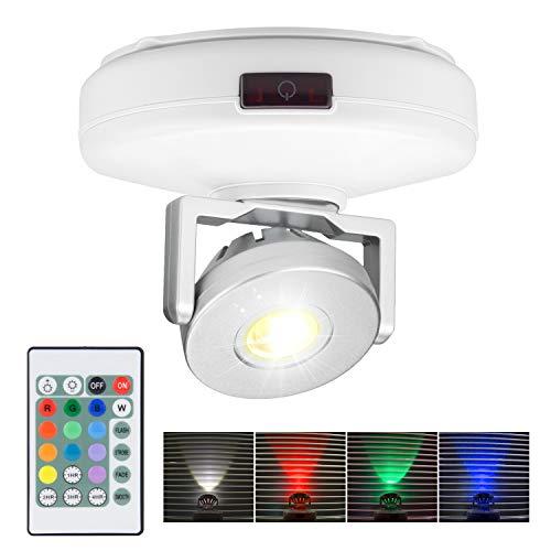 HONWELL LED Spot mit Batterie Wireless Deckenstrahler mit Fernbedienung 12 Farben Wechseln dartscheibe beleuchtung Dimmbares wandleuchte mit Drehbar Licht Kopf für Spiegelanstrich Dartscheibe,Weiß
