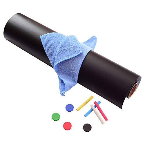 77x44cm Selbstklebende magnetische Tafelfolie in schwarz - inkl. 4 Neodym Magnete, 4 Stück Tafelkreide und Wischtuch – Alternative zur Schultafel und Schiefertafel – Ferrofolie Kreidetafel von Davom