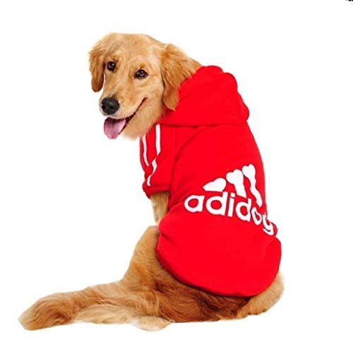 Legisdream Felpa Cane Animale con Cappuccio con Dog Bianco di Colore Rosso Abbigliamento per Cani Taglia XXL