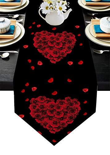 Camino de mesa de arpillera con texto en inglés 'Happy Mother's Day', color rojo, fondo negro, 33 x 177,8 cm