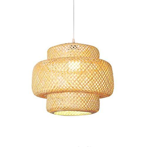 Araña de bambú Que Teje la lámpara de la Linterna de la lámpara de Noche Bar Pasillo Dormitorio lámpara de araña (Size : 38cm)