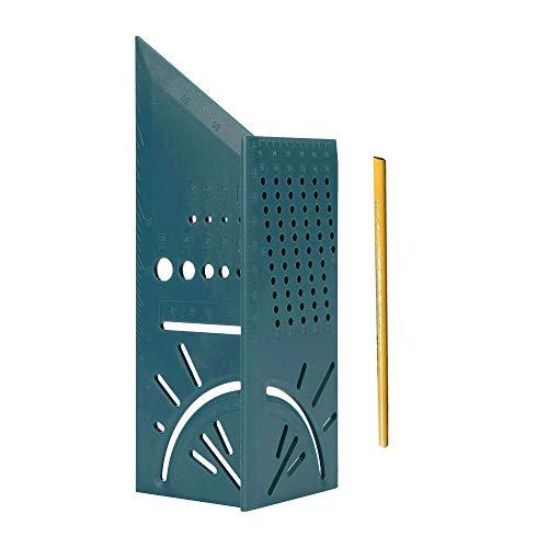 SUFAN Tratamiento de la Madera Gauge Regla Mitre ángulo de medición 3D Medida Herramienta Cuadrada de 45 Grados y 90 Grados con Lápiz del Carpintero (Color : Green)