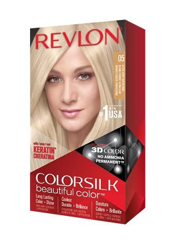REVLON Colorsilk Beautiful Color Permanent Hair Color with 3D Gel Technology & Keratin, 100% Gray Coverage Hair Dye, 05 Ultra Light Ash Blonde