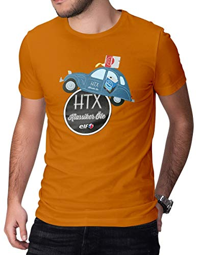 HTX by Elf Klassiker T-Shirt Citroen 2CV Herren Tee Orange 2XL