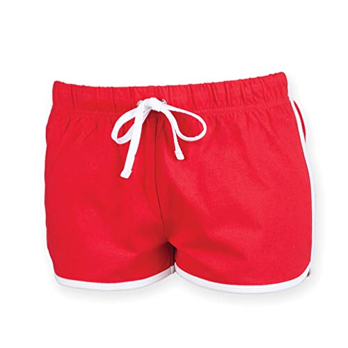 Skinni Fit Damen Sport-Shorts / Retro-Shorts (Medium) (Rot/Weiß)