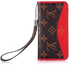 iPhone Xs Max Wallet Case, Classic Vintage Designer Elegent Monograme with Lanyard Kickstand Flip Cover Case for iPhone Xs Max(Brown Red)