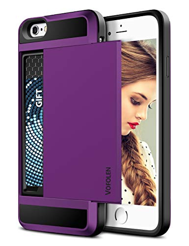 Vofolen Case for iPhone 6S Plus iPhone 6 Plus Case Wallet Card Holder Sliding Cover Dual Layer Protective Hard Shell Tough Bumper Armor Scratch-proof Hybrid Cover Case for iPhone 6 Plus 6S Plus Purple