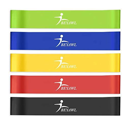 BEYAWL Bande Elastiche Fitness (5 Pezzi), con 5 Livelli di Resistenza, Fascia Elastica Esercizi Ideale per Yoga, Pilates, Allenamento di Forza, Fisioterapia e Riabilitazione (5 Colori)