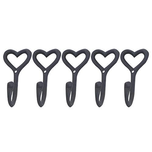 YARNOW 5Pcs Retro Gancio a Parete in Metallo Art Appesi Ganci Appendiabiti da Parete a Forma di Cuore Gancio di Stoccaggio a Parete Durevole per Ufficio Cucina Domestica (Nero)