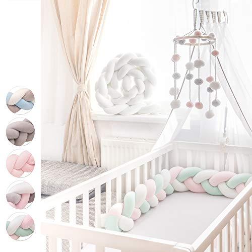 KINDNEST Premium Bettumrandung Kinderbett Baby Nestchen 2m Krippe Weben Geflochten Stoßfänger Kopfschutz Bettausstattung Dekoration für Babybett Babywiege (Weiß-Rosa-Grün, 2m)