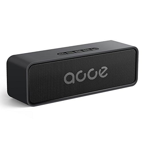 AOOE K116 Bluetooth Box 5.0, kabellose musikbox, 20m-50m Reichweite, 10W Dual-Treiber, 20 Std. Spielzeit, mit eingebauter Freisprecheinrichtung und Aux USB Kabel TF Karte Slot (Schwarz)