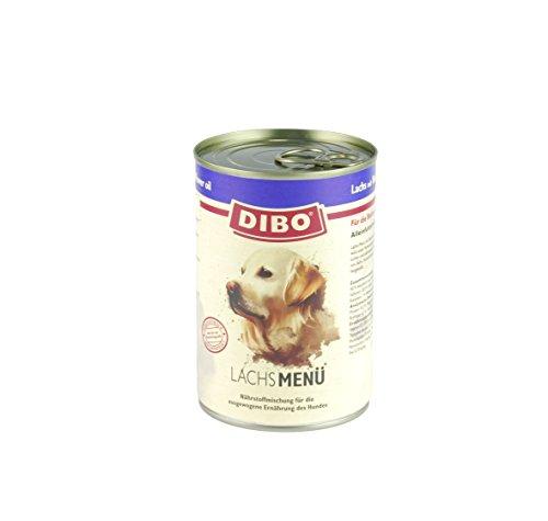 DIBO – MENÜ LACHS, 400g-Dose mit Naturreis, Karotten und Distelöl, DIBO-Qualität