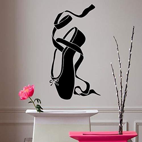 Calcomanías de pared reales pegatina de vinilo de bailarina zapato de Ballet para niña Pointes de baile arte decoración del hogar dormitorio cita cartel de estar 45 * 85 cm