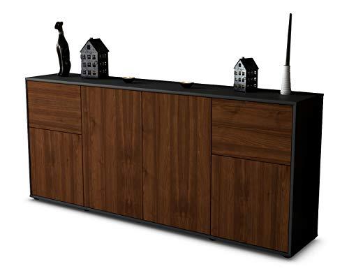 Stil.Zeit Sideboard Georgina/Korpus anthrazit matt/Front Holz-Design Walnuss (180x79x35cm) Push-to-Open Technik