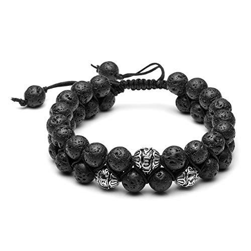 CrystalTears Buddha Armband Männer Frauen Perlenarmband mit Sechs-Wörter-Gerücht Tibetisches Silber Kugel Partnerarmbänder Parfum Diffusor Geflochten einstellbar