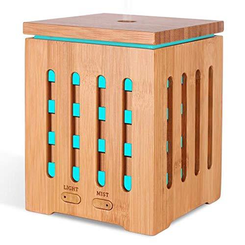 Preisvergleich Produktbild Aroma Diffuser 200ml Ultraschall Kalter Nebel Luftbefeuchter Raumluftreinigung mit 7 Farben LED Duftlampe und Wasserlose Auto-Shut-Off Leise für Zuhause Yoga Büro SPA Schlafzimmer,  Natural Bamboo