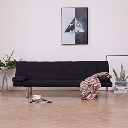UnfadeMemory Schlafsofa Sofabett mit 2 Kissen Couch Schlafcouch Sofagarnitur mit Schlaffunktion Polyesterbezug Verchromte Beine 3 Positionen Rückenlehne 168 x 77 x (61,5/64/66) cm (Schwarz)
