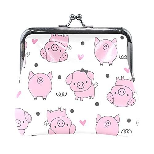 Monedero de viaje lindo cerdo rosa animal animal juguetes monedero para mujeres con cierre de beso mini monedero para mujeres niñas 4.5 x 4.1 pulgadas
