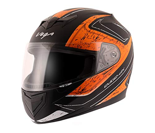 Vega Edge Dx Crystal Dull Black Orange Helmet-L