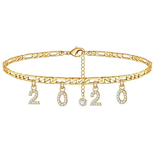 Gleamart 2020 Birth Year Anklet Rhinestone Bracelet Personalized Birthday Gift for Women