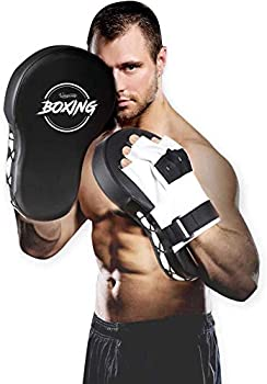 Valleycomfy Boxing Curved Focus Punching Mitts,Extra Large & Thicken Leatherette Boxing Equipment,Ideal for Karate Muay Thai Kick Sparring Dojo Martial Arts MMA