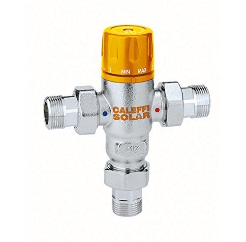Caleffi 252153 Thermomischer 3/4 Zoll AG 30-65 °C mit Rückschlagventilen für Solaranlagen, Einstellbar entzinkungsfreies Messing-Gehäuse, verchromt