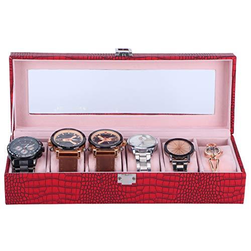 Caja del Reloj, Caja de Almacenamiento del Reloj del Organizador de la joyería de Escritorio del Cuero de la PU con Las Almohadas para el Almacenamiento para la exhibición