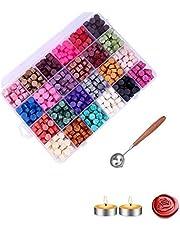 600 قطعة من خرز القفل الشمعي مُعبأة في صندوق من البلاستيك مع قطعتين من شمع الشاي وملعقة لإذابة الشمع مخصصة لطوابع الإغلاق الشمعية (24 لون).