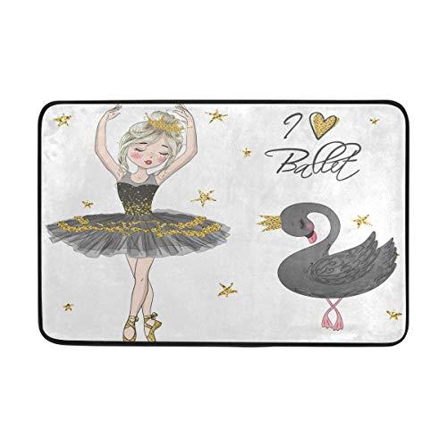 BKEOY Fußmatte für den Innen- und Außenbereich mit Ballerina-Motiv, schwarzer Schwan, für Schlafzimmer, Wohnzimmer, Esszimmer, Küche, Innenbereich, rutschfest, 60 x 40 cm