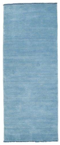 CarpetVista Alfombra Handloom Fringes, Pelo Corto, 80 x 200 cm, Pasillo, Moderna, Lana, Corredor, Cocina, Salón, Comedor, Azul Pálido