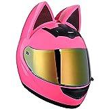 NINOMI Chica Mujer Casco De Moto (Oreja De Gato Rosa) Casco Casco De Moto Integral Certificado Cascos Abatibles De Cuatro Estaciones con Visera para Street Bike Racing Motocross