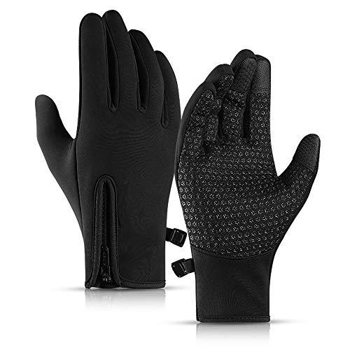 KDAQO Männer und Neue im Freien Reithandschuhe Frauen windundurchlässige wasserdichte Handschuhe Touch Screen voller Finger Sport-Handschuhe Winter warm Plus Samt Skihandschuh (Color : Black)