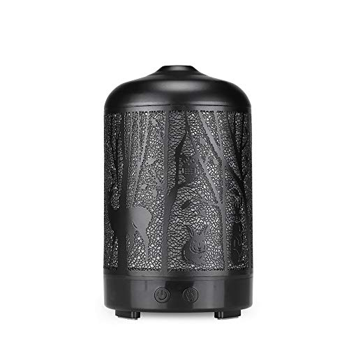 Lixada Luchtbevochtiger, 100 ml, etherische olie, aroma diffuser, 7 kleuren, LED-licht, luchtreiniger, metaal, vintage, koelen, mist, diffusers voor etherische olie voor thuiskantoor