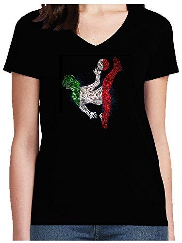 BlingelingShirts - Camiseta de fútbol para mujer, diseño de la bandera de Italia con brillantes Negro 38-40
