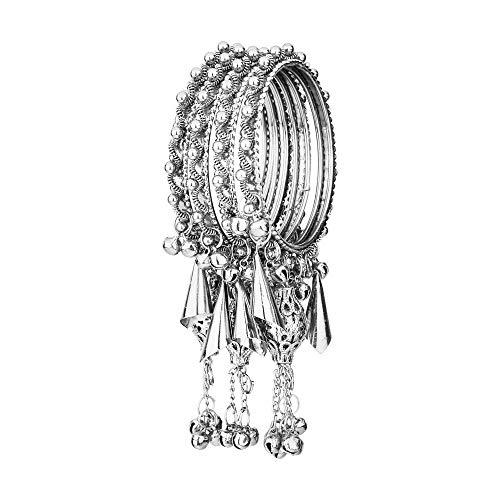 Efulgenz Boho Indian Bracelet Tribal Antique Oxidized Silver Charm Bangle Set Jewelry Silver