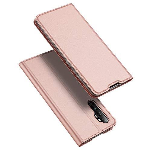 BaiFu Hülle für Xiaomi Mi Note 10 Lite Lederhülle Flip Hülle mit Magnetischem Superdünnem seidigem Brieftasche Schutzhülle Kompatibel mit Xiaomi Mi Note 10 Lite-Roségold