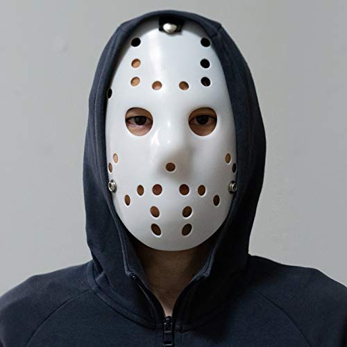 DukeTea Jason Mask Costume, Jason Voorhees Hockey Mask for Kids & Adult Halloween Cosplay Masquerade Party (White)