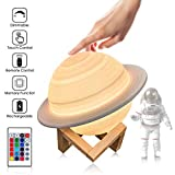 Moon Lamp for Kids, SOONHUA LED Saturn Night Light 3D Printing 8.6 inch 16 Colors Saturn Bedside Lamp with Stand, Remote &Touch Control USB Rechargeable for Baby Kids Friends Birthday Gifts