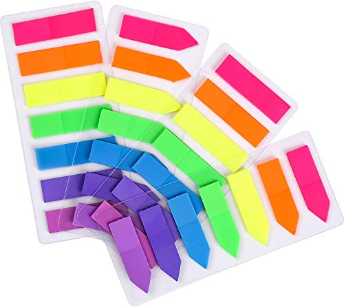 JASLY 4 Sets Neon Page Markers Colored Index Tabs, Fluorescent Sticky Note for Page Marker, 560pcs (560)