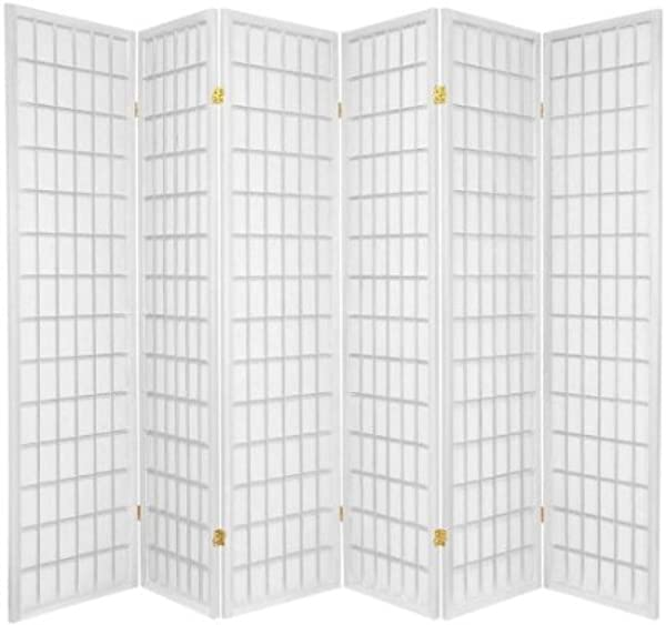 Legacy Decor 6 Panel Japanese Style Room Screen Divider White Finish